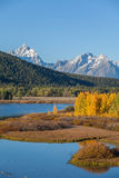 Tetons in fall at Oxbow Bend Stock Photos