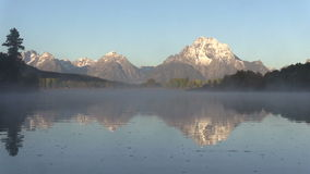 Tetons Fall Reflection at Oxbow Bend stock footage
