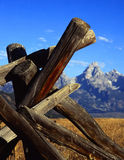 Tetons&Fence#5. A buck and rail fence and the Teton Mountain Range in Grand Teton National Park, Wyoming Royalty Free Stock Photos