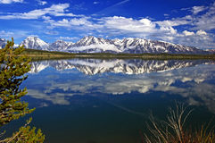Tetons magnífico en los lagos borde, madrugada Imágenes de archivo libres de regalías
