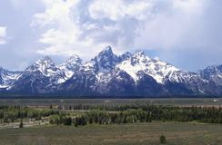 The Teton Mountains near Jackson Hole Wyoming. The Tetons near Jackson Hole Wyoming are some of the most majestic mountains in the United States. The snow royalty free stock images