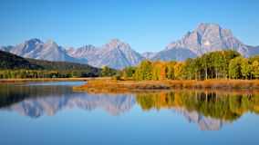 Tetons at Oxbow Bend. View of the Grand Teton Mountains from Oxbow Bend on the Snake River. Grand Teton National Park, Wyoming, United States Stock Photo