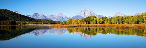 Tetons at Oxbow Bend. View of the Grand Teton Mountains from Oxbow Bend on the Snake River. Grand Teton National Park, Wyoming, United States Royalty Free Stock Image