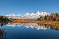 Tetons Reflection in Fall Stock Photos