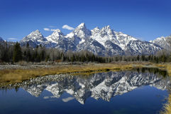 Tetons Reflection in River Stock Images