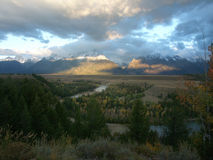 Tetons & Snake River. View of the Grand Tetons and the Snake River at dawn in early autumn Stock Image