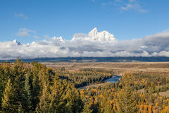 Tetons From Snake River Overlook in Fall Stock Photos