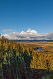 Tetons From Snake River Overlook Stock Photo