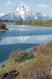 Tetons on stream Stock Photos