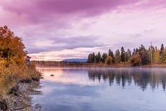 Tetons Sunrise Fall Reflection at Oxbow Bend Stock Photos