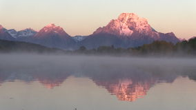 Tetons Sunrise Reflection stock footage