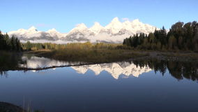 Tetons Sunrise Reflection in Fall stock video