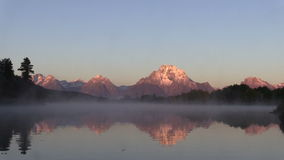 Tetons Sunrise Reflection at Oxbow Bend stock video