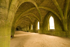 Tetos Vaulted na abadia das fontes em Yorks norte Imagens de Stock