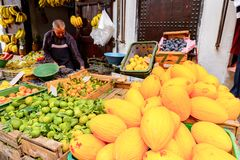Tetouan, Morocco. SEP 11, 2015: Market place at Tetouan, a city in northern Morocco. Tetouan is one of the two major ports of Morocco on the Mediterranean Sea royalty free stock image