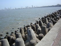 Tetra-pods at Mumbai shoreline Stock Images