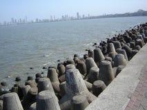Tetra-pods at Mumbai shoreline. Array of break wave tetra pods to protect city wall Stock Images