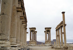 The Tetra pylon at Palmyra, Syria Stock Images
