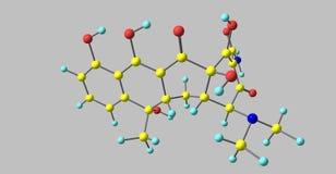 Tetracyclinmolekülstruktur lokalisiert auf Grau stock abbildung