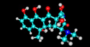 Tetracyclinmolekülstruktur lokalisiert auf Schwarzem vektor abbildung