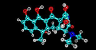 Tetracyclinmolekülstruktur lokalisiert auf Schwarzem lizenzfreie abbildung