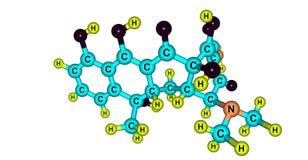 Tetracyclinmolekülstruktur lokalisiert auf Weiß lizenzfreie abbildung