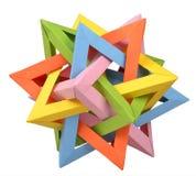 Tetraedro de cruzamento do origâmi cinco Fotografia de Stock