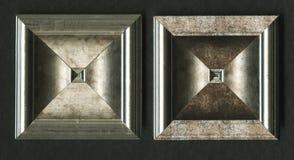 Tetrahedral τετραγωνική διακοσμητική ροζέτα των ξύλινων πλαισιώνοντας λουρίδων Στοκ Εικόνες