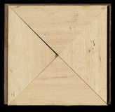 Tetrahedral square decorative rosette of wooden framing strips Stock Photo