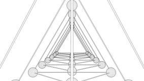 Tetrahedron DNA String Rotating Animation stock video