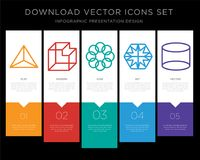 Tetrahedron infographics design icon vector. 5 vector icons such as Tetrahedron, Cube, Ellipse, Hexagon, Cylinder for infographic, layout, annual report, pixel Stock Photo