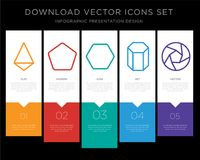 Tetrahedron infographics design icon vector. 5 vector icons such as Tetrahedron, Pentagon, Hexagon, Cylinder, Shutter for infographic, layout, annual report Stock Photos