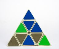 Tetrahedron Puzzle Front. Tetrahedron shaped puzzle toy Royalty Free Stock Photography