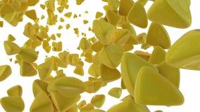 Tetrahedrons 3D amarelos Foto de Stock Royalty Free