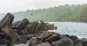 Tetrapod barrier at Laupahoehoe point Royalty Free Stock Photos