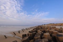 Tetrapod structure on the beach in Kinmen Royalty Free Stock Image