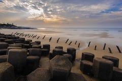 Tetrapod Struktur auf dem Strand in Kinmen Stockbild