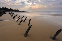 Tetrapod Struktur auf dem Strand in Kinmen Stockfoto