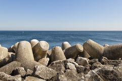 Tetrapod vågbrytare royaltyfri foto