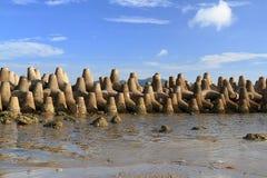 Tetrapods è calcestruzzo usato come onda di rottura Immagine Stock