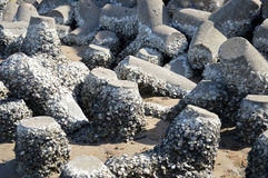 Tetrapods on the beach Royalty Free Stock Photos