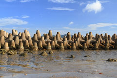 Tetrapods is concrete used as a breaking wave Stock Image