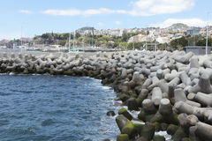 Tetrapods form a breakwater in Madeira Royalty Free Stock Image