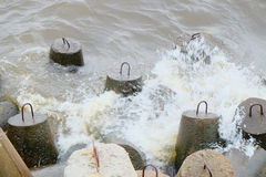 Tetrapods made of concrete Stock Images