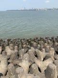 Tetrapods, prevenção da erosão litoral, litoral de mumbai imagens de stock royalty free