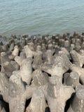 Tetrapods, preven??o da eros?o litoral, litoral de mumbai fotos de stock royalty free