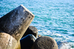 Tetrapods in winter sea Stock Image