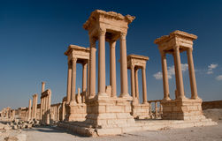 Tetrapylon in Palmyra. Tetrapylon in ancient city of Palmyra located in Syrian desert royalty free stock image