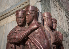 The Tetrarchs - a Porphyry Sculpture of four Roman Emperors, Sac. Ked from the Byzantine Palace in 1204. Now located on San Marco Square in Venice, Italy Royalty Free Stock Photo