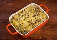 Tetrazzini is an American dish. Spaghetti with chicken, mushrooms and fresh grated parmesan cheese. baked noodle casserole Stock Images